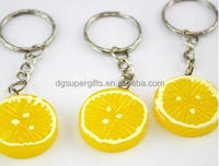 2016 Custom mini Fruit lemon keychains, emulational fruit keychain/handbag pendant/key chain/gift /wholesales keyrings