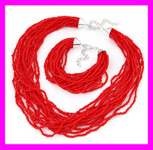 2016 New fashion women red stone beads necklace set jewelry HD3699