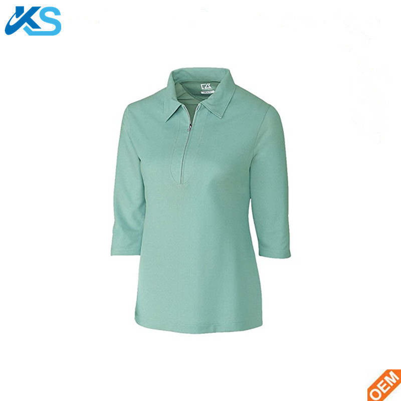 Casual Women Polo 100% Polyester Pique 3/4 Sleeve Plain Blank Women Polo Shirt