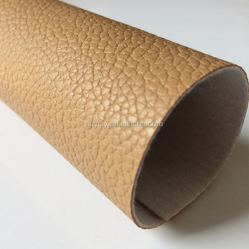 Brown color embossed pvc faux leather for making lady bags and shoes, China PVC Faux Leather Factory