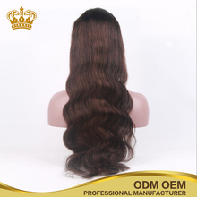 High density free part brown color 4 Brazilian human long hair body wave lace front wigs
