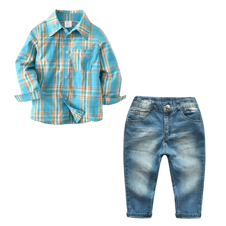 Fashion Cool Boys Blue Plaid Long Sleeved Shirt + Jeans Set