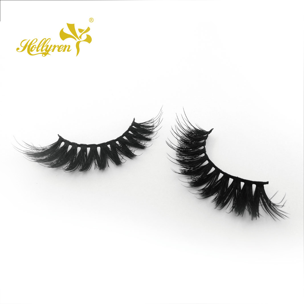 Hollyren New Clear Invisible Band 3D Natural Layered FAUX MINK Eyelash of Magnet