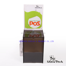 Bottom price new product lockable imitated wood donation box with 1/3 A4 advertising holder