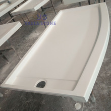 Cast Marble Rectangle Curved Front Shower Pan