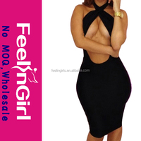 latest halter cut out black sexy nighty dress for women