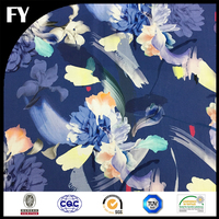 Custom digital printed 100 cotton blue floral voile fabric