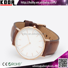 China Watch Factory Super slim Classic Mens and Womens Leather Rose Gold Watch