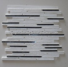 stainless steel mix stone mosaic wall sticks tile