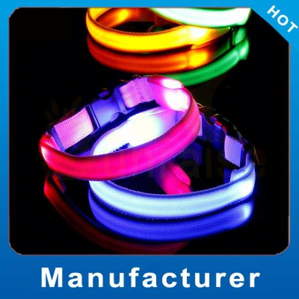 Factory Wholesale adjustable nylon dog pet led colloar Made in China