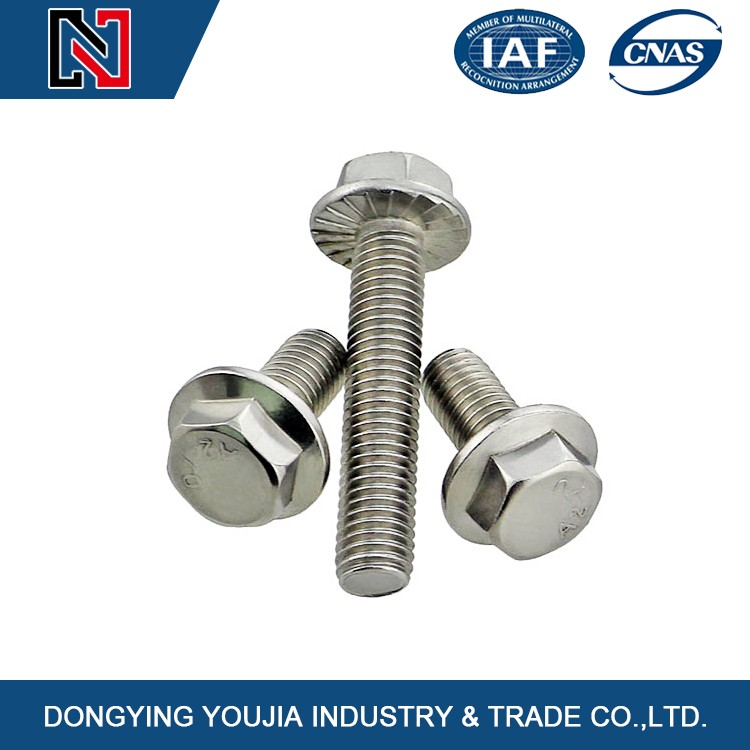 China made stainless steel different types hexagon flange bolts