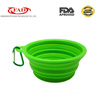 Non-toxic food grade collapsible silicone pet travel feeder bowl
