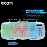 Rubber backlit gaming keyboard LED light up gamer keyboard with pretty backlight color--Shenzhen Ricom