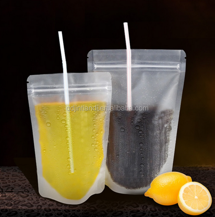 Manufacture customized self standing disposable beverage bags drinking pouch