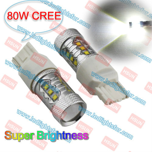 BRIGHTNESS 80W CREE 7440 HIGH POWER LED,T20 CAR TAIL LED,W21W BULB LED AUTO