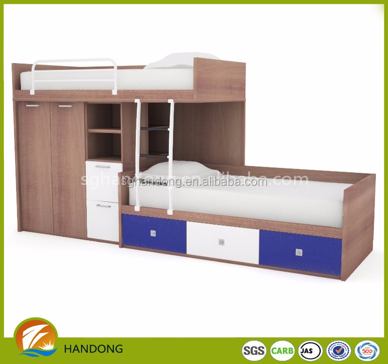 New design multifunction dorm loft bed with wardrobe and drawer