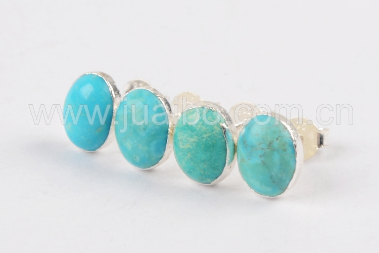 SS181 Oval shape fashion wholesale natural blue stone turquoise 925 silver earrings