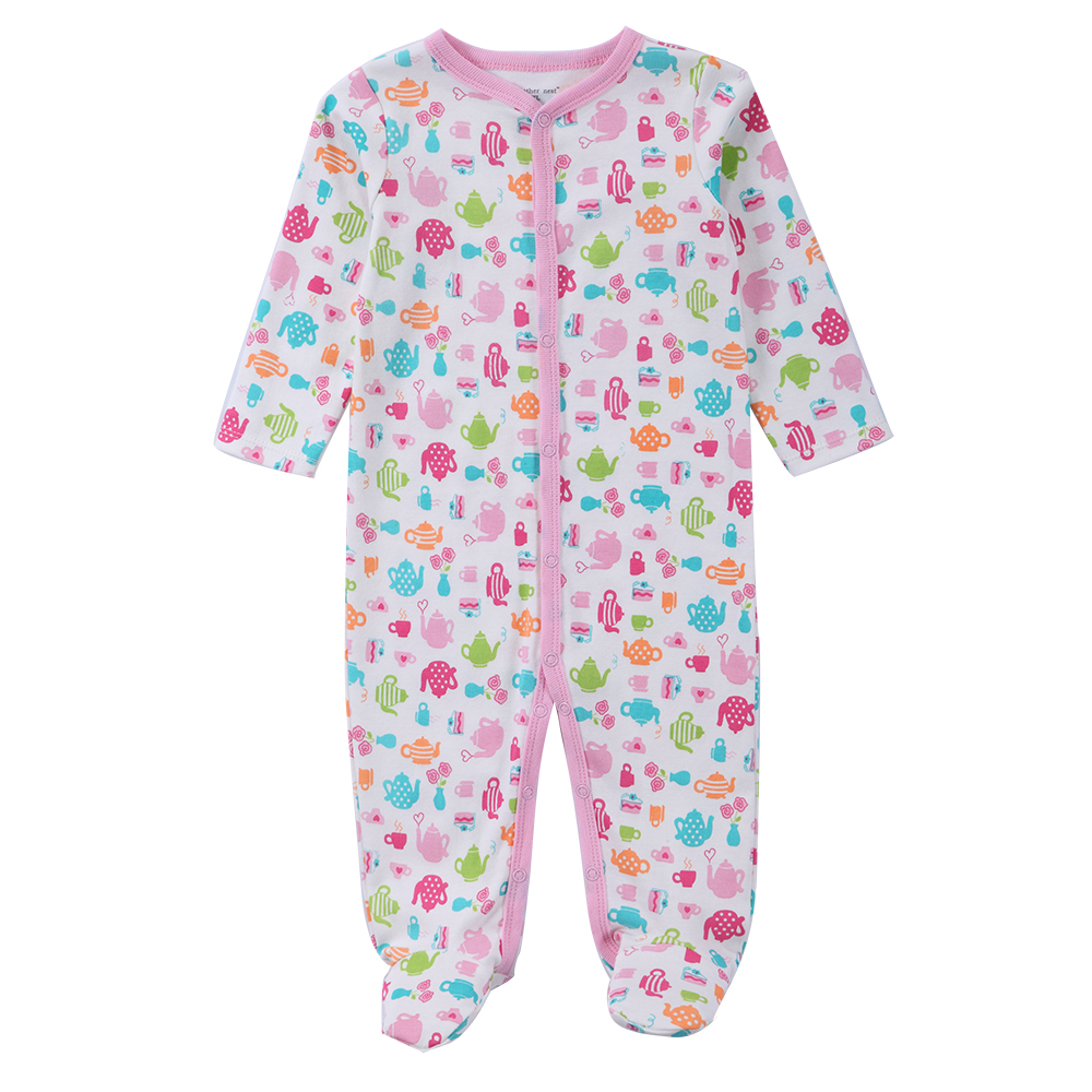 Newborn Baby Embroidered Print Romper Baby Girl Jumpers Pajamas For Babies