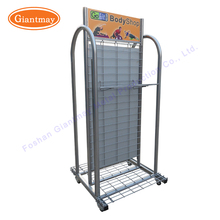 Double sides free standing sports products hanigng metal wire grid panel gridwall rack on wheels
