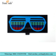 El Light Up Battery Equalizer/Eyeglass Panel for T shirt/Sound Activated LED Panel 2017