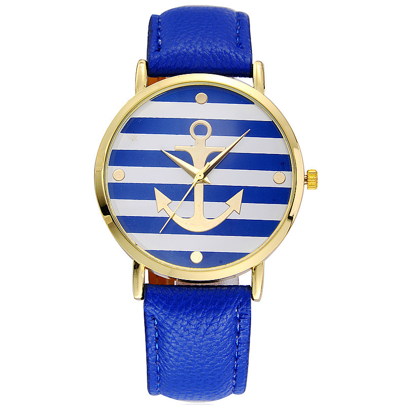 2016 Big Face Stripe Dial Watches for Women Ultra Quartz Watches Blue Strap and Boat