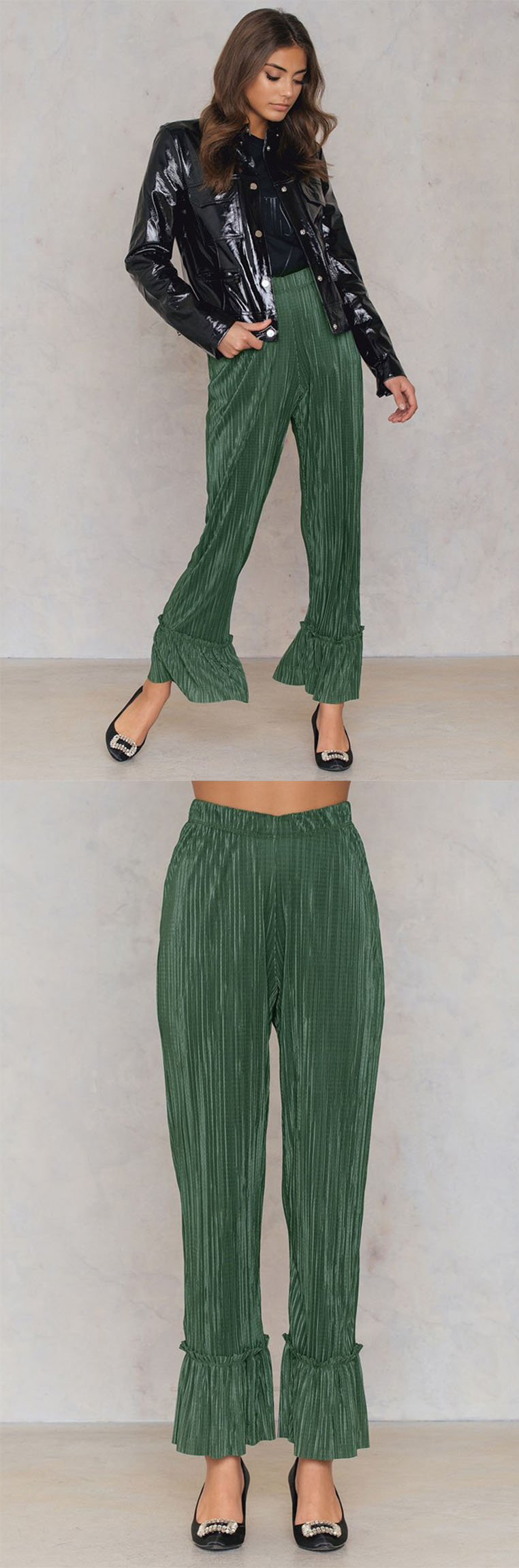 Fashion 2018 Women Clothing Summer Pleated Frill Pants