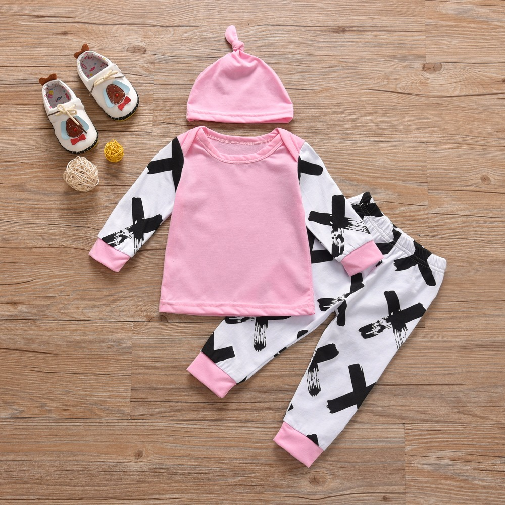 2018 Autumn spring Newborn Baby Girls Clothes Long sleeve Pink and XX Printing Patchwork Tops+Pants+Hat 3pcs Infant Clothing Set