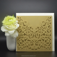 Gold Letterpress padded wedding invites RSVP card made in China