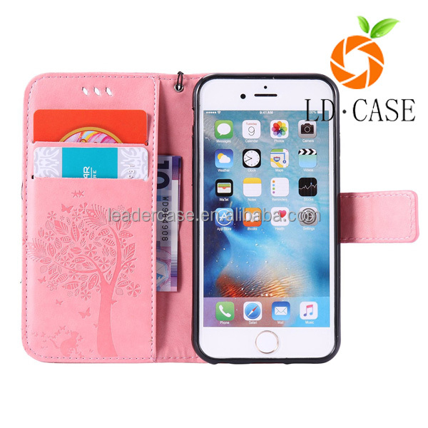 Embossed flower stand wallet classic elegant leather mobile/cell phone case for iphone 7/7 plus