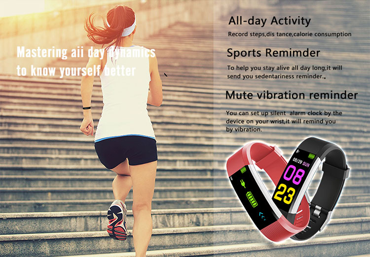 115 plus Smart Bracelet Fitness Tracker Step Counter Activity Monitor Band Alarm Clock Vibration Wristband for ios and android