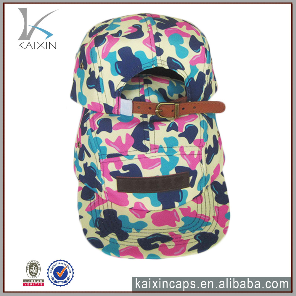 customize flat brim leather strap dye sublimation 5 panel hats