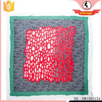 Fashion lady's green/red digital print square viscose scarf