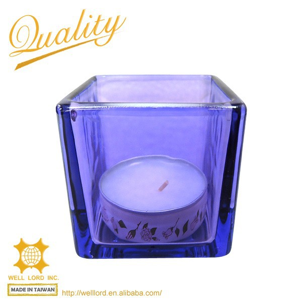 New year decoration blue ambiance plastic candle container recyclable