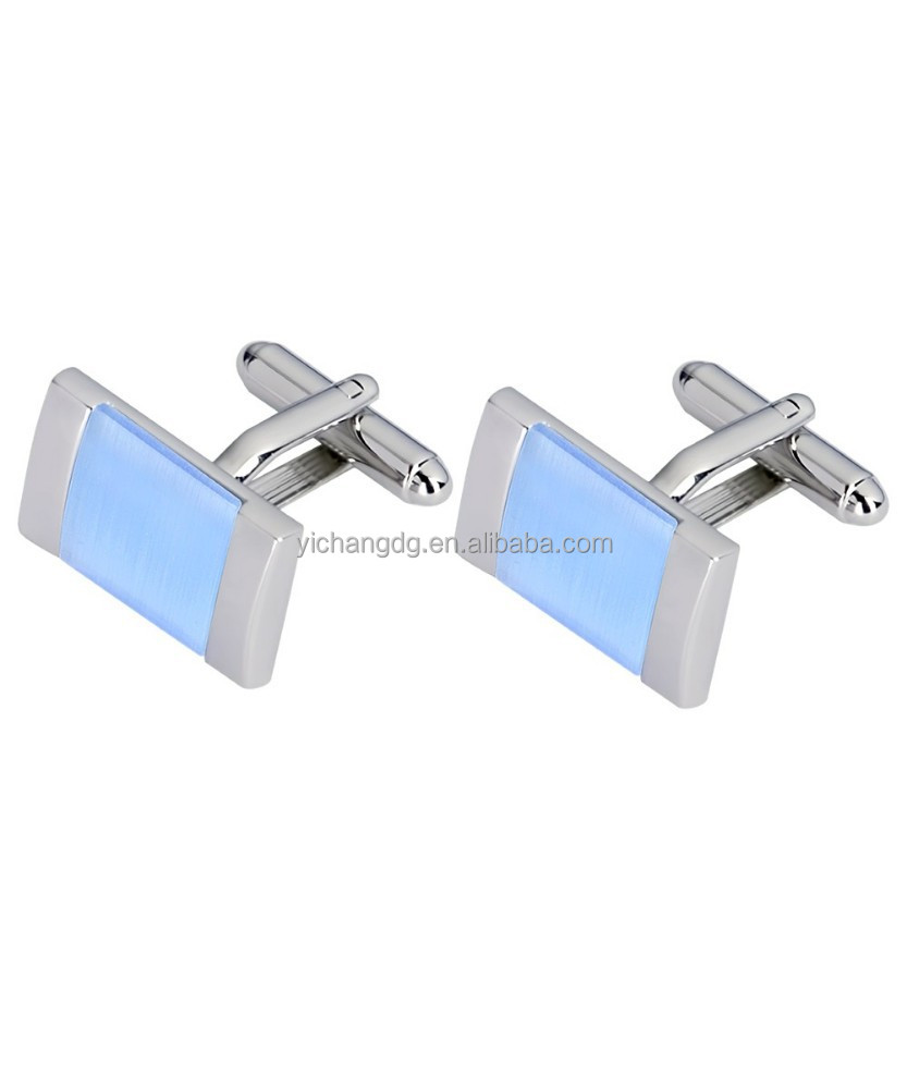 Blue Cat's Eye Cufflinks,Stainless Steel Cufflink Blanks