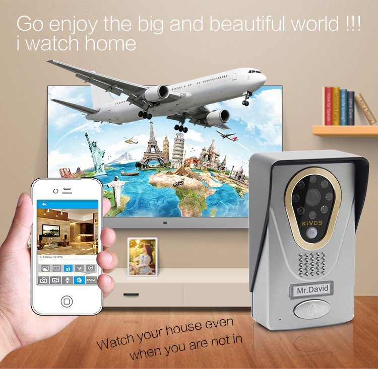 Smart home wifi ip video door phone with remote unlock the door via free IOS/Android App on Smartphone & Tablet Alibaba