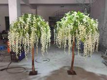 1.5m long vine wristeria flower ornament display tree with iron base holder
