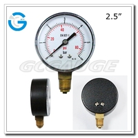 High quality 2.5 inch black steel gas tank gauge with bottom connection