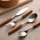 Restaurant Spoon Fork Knife Cutlery sets Wooden Handle