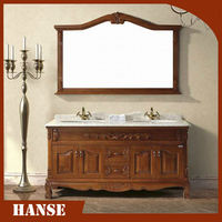 HS-A815 Big size antique double sink ceramic top bathroom cabinet