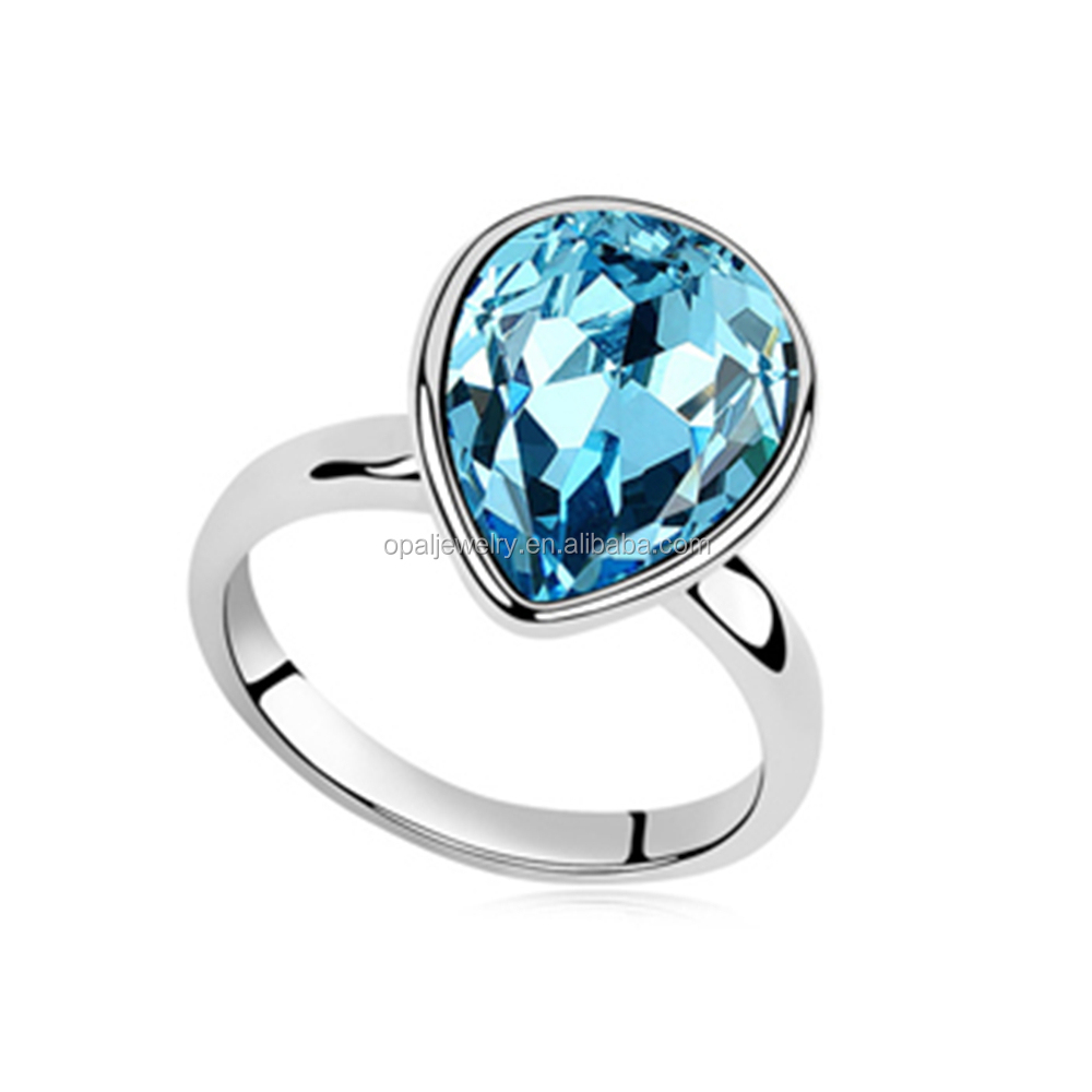 Fashionable Ring Women Jewelry Dreamy Water Shape Aquamarine Crystal Stud Ring Free Ship