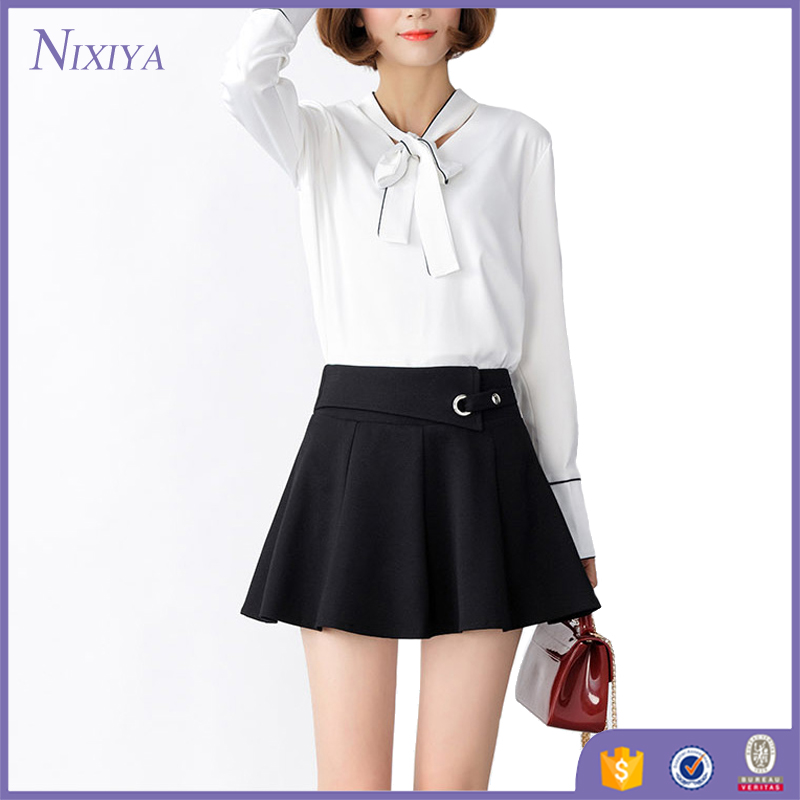 Latest Fashion Black Pleated Skirt High Waisted Short Skirts For Girls