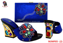 Gzmadison Hot selling evening shoes matching bag with multicolor stones/women matching italian shoes and bag set/MJMF05-2