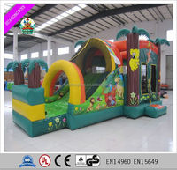 2016 hot sale inflatable forest jumping castle for sale, inflatable bouncy castle with big slide for kids.
