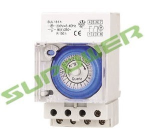 24 Hour Daily programmable 16A 110V-250V AC Analog Mechanical Timer Time Switch SUL181H