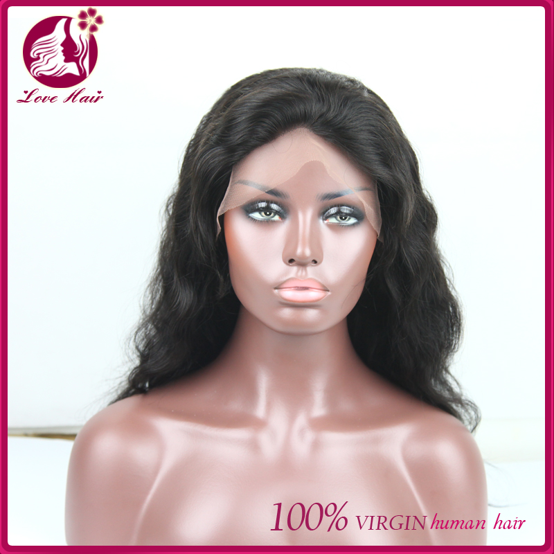 alibaba express Natural Wave Wigs brazilian hair lace front wig 130% density