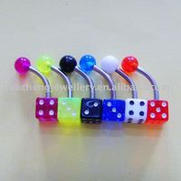 body piercing jewelry dice belly ring with UV ball