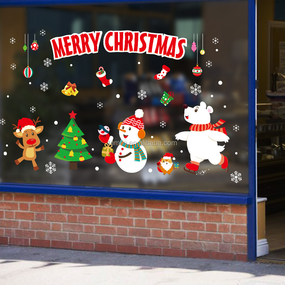 removable wall sticker for decoration/2019 Custom PVC christmas window wall sticker