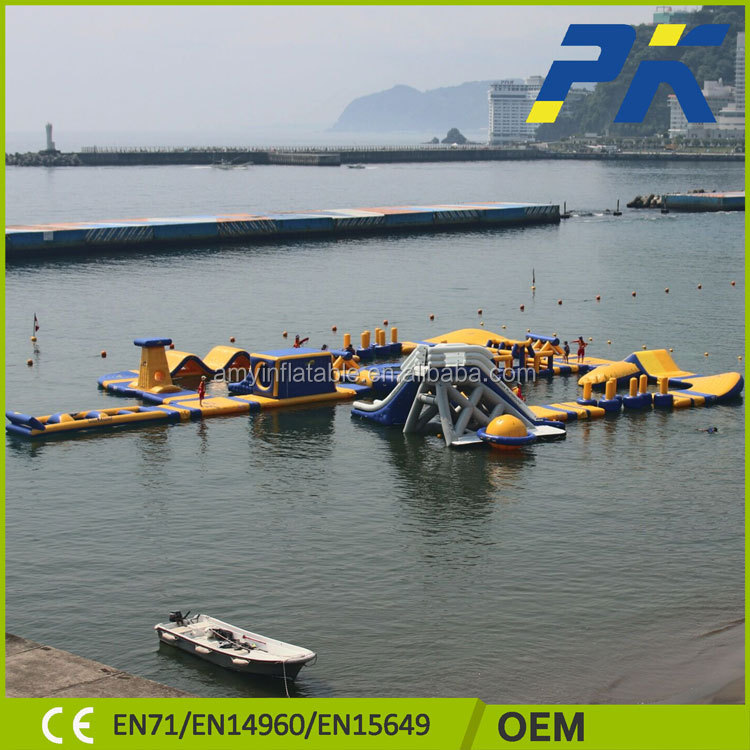 PVC tarpaulin interesting inflatable floating mobile water amusement park for sale