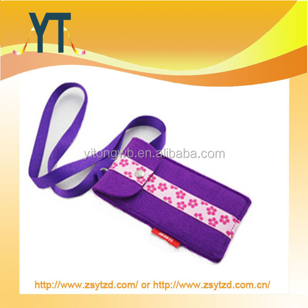 Girls style cell phone lanyard with pouch,cute style phone case strap