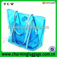 ladies transparent handbag/pvc tote bag/pvc waterproof bag